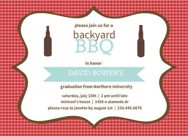modern graduation bbq invitation