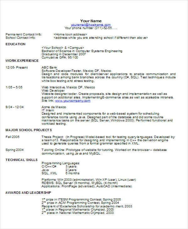 sample software resume format