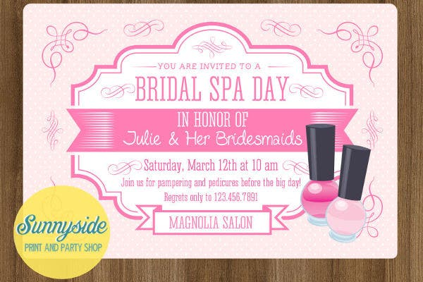 diy spa bridal shower invitation