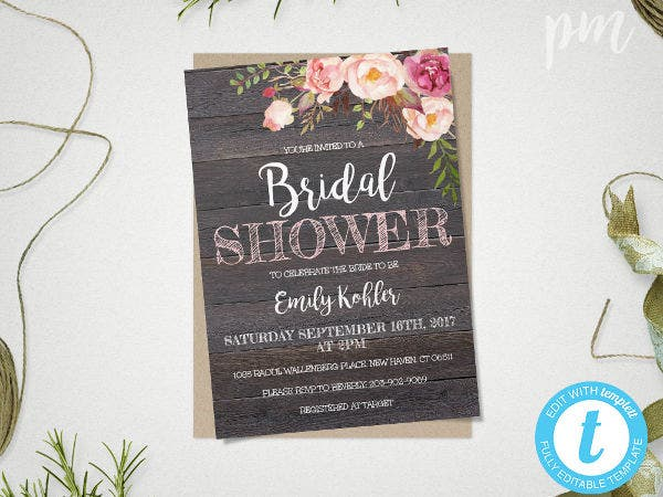 -Diy Floral Bridal Shower Invitation