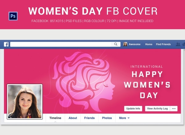 Personalize Women's Day Facebook Cover Page