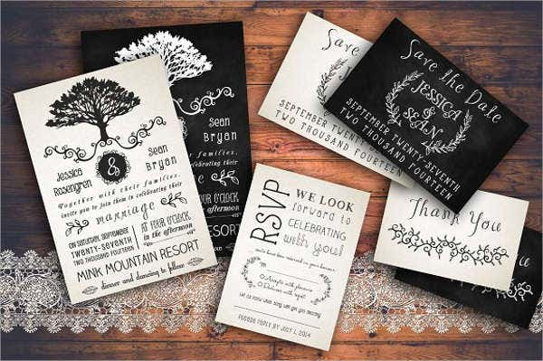 rustic chalkboard wedding invitation