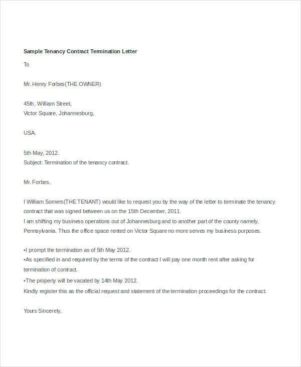 Termination Letter Doc Template 28 Free Word Pdf Documents