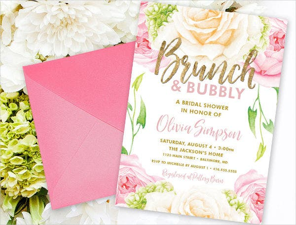 -Champagne Brunch Bridal Shower Invitation