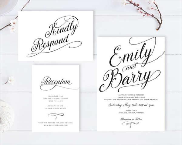 printable formal wedding invitation