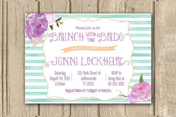 -Flora Brunch Bridal Shower Invitation