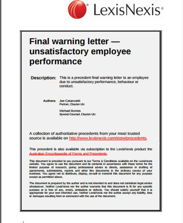 Warning Letter Example Template  Free  Premium Templates