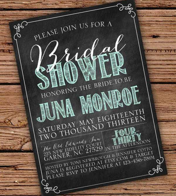 -Hand Lettering Chalkboard Bridal Shower Invitation