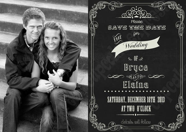 -Outdoor Chalkboard Bridal Shower Invitation