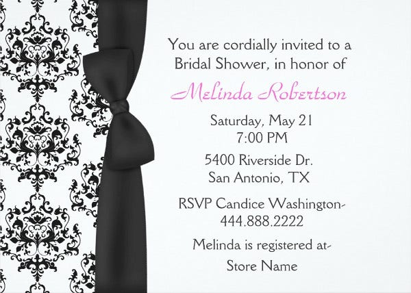 -Black and White Damask Bridal Shower Invitation