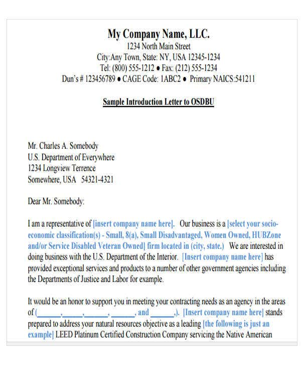 business marketing introduction letter