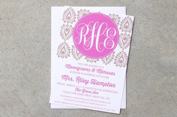 -Damask Monogram Bridal Shower Invitation