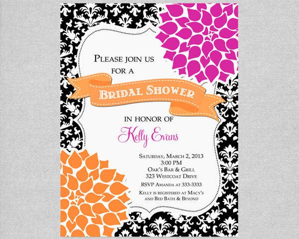 -Damask Floral Bridal Shower Invitation