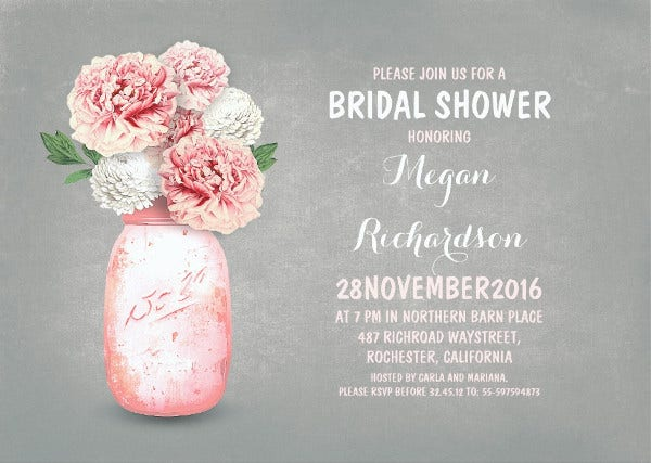 -Pink Floral Bridal Shower Invitation