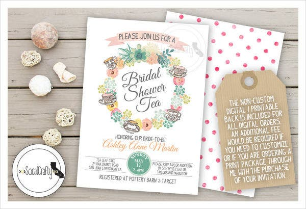 -Floral Wreath Bridal Shower Invitation