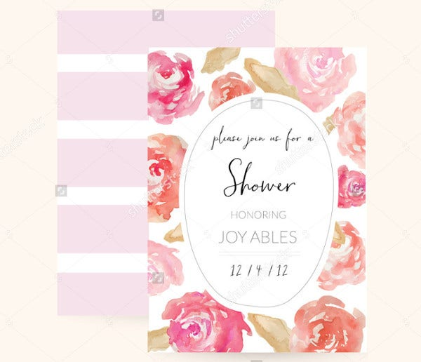 -Watercolor Floral Bridal Shower Invitation