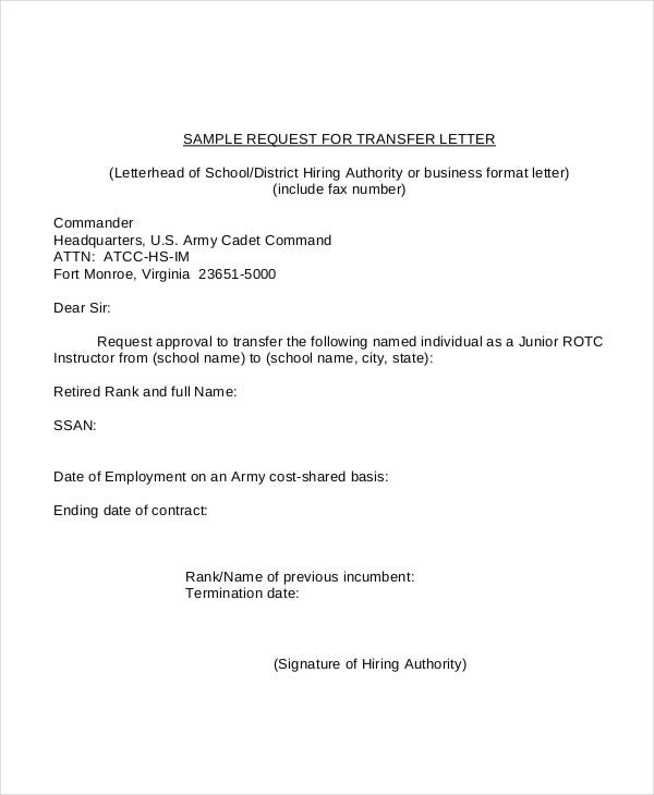 Formal Request For Transfer Letter