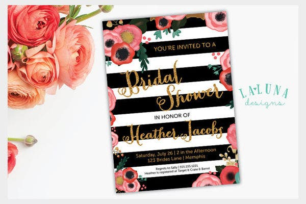 -Floral Stripes Bridal Shower Invitation