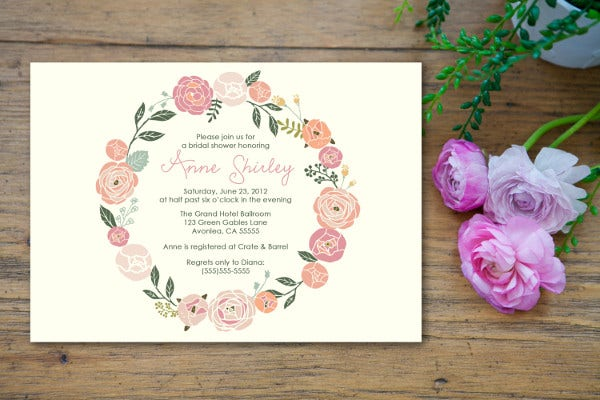 -Pastel Floral Bridal Shower Invitation