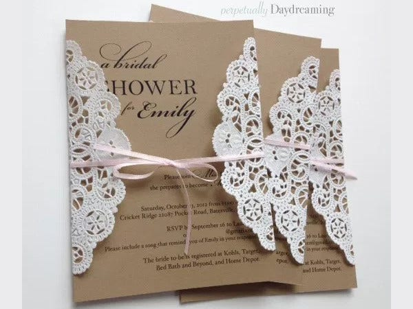 -Elegant Lace Bridal Shower Invitation