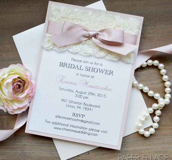 -Lace Bridal Shower Invitation Wording