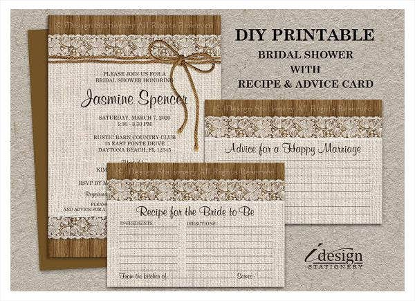 -Lace and Burlap Bridal Shower Invitation