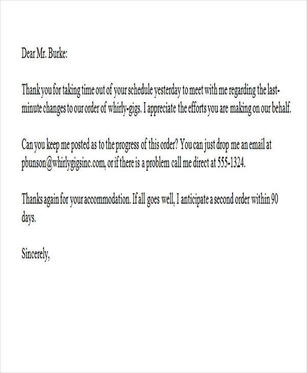 sample business thank you letter for meeting