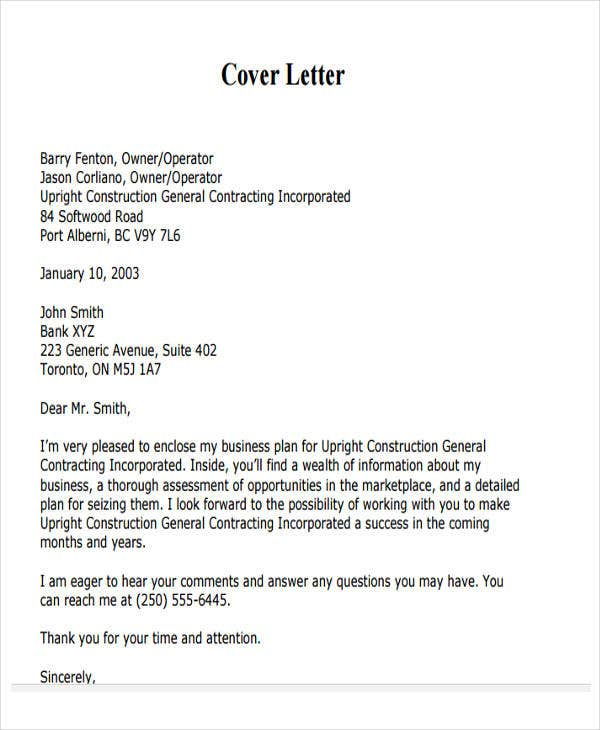 business contract cover letter