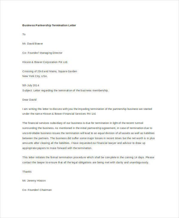business partnership termination letter1