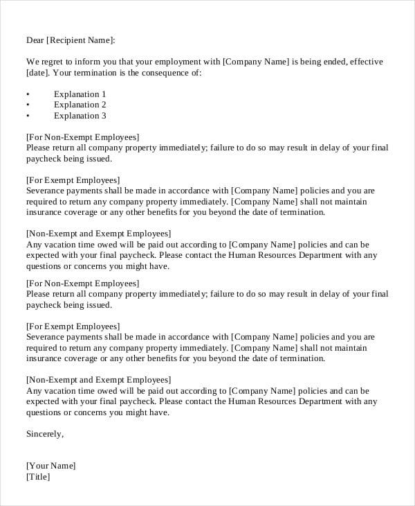 formal employment termination letter