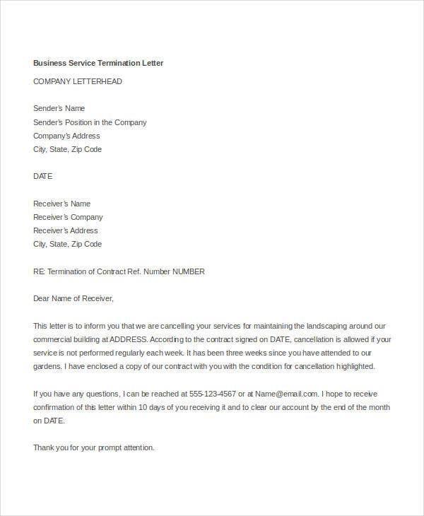 termination letter doc templates