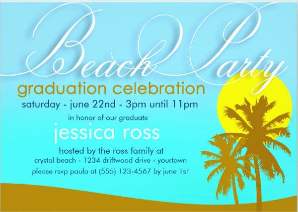 graduation beach party invitation