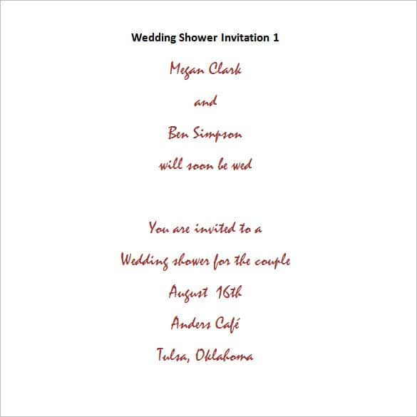 free bridal shower invitation wording