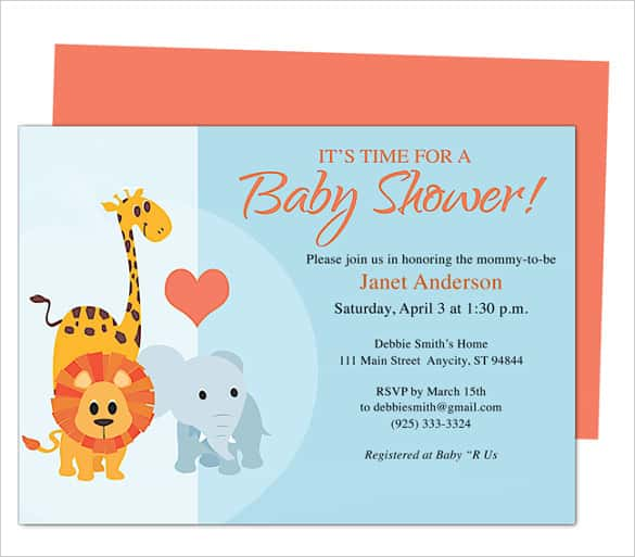 Download Animals Baby Shower Invitation Template  Baby Shower Invitation Template Download