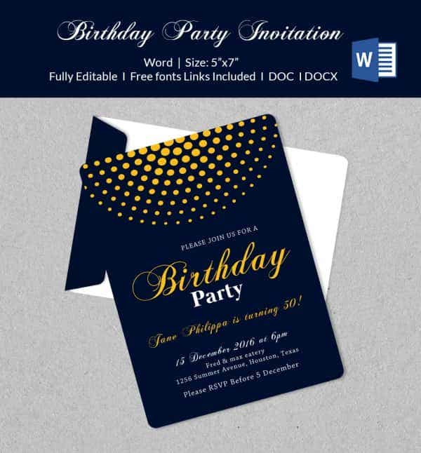 50 Microsoft Invitation Templates Free Samples Examples – Free Party Invitation Template Word