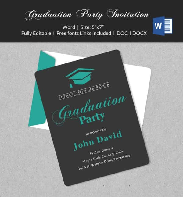 50 Microsoft Invitation Templates Free Samples Examples – Graduation Invitation Templates Microsoft Word