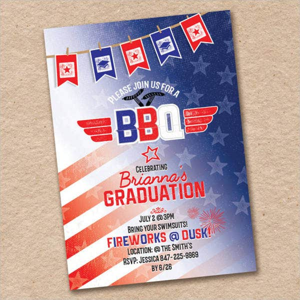 graduation themed bbq invitation
