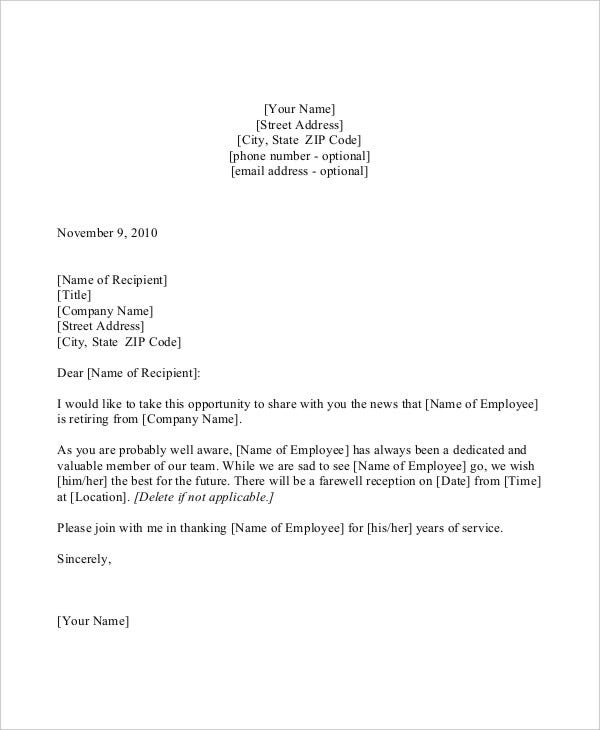 thank you retirement letter sample employee leaving announcement – Staff Promotion Announcement Template