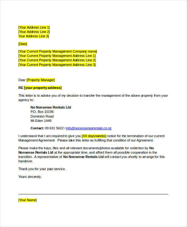 management company termination letter