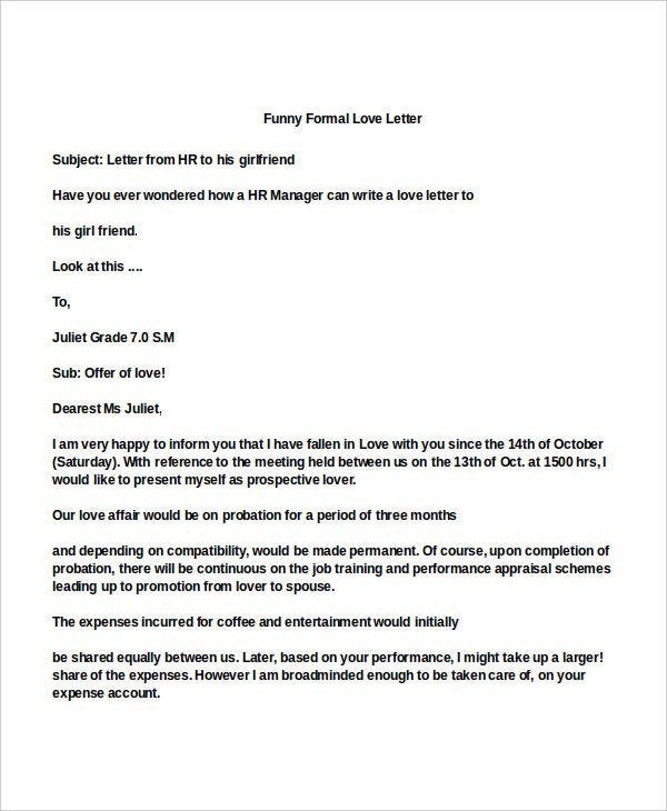 funny formal love letter
