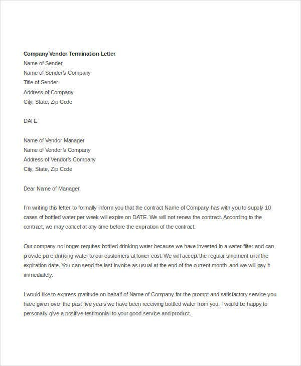 company vendor termination letter