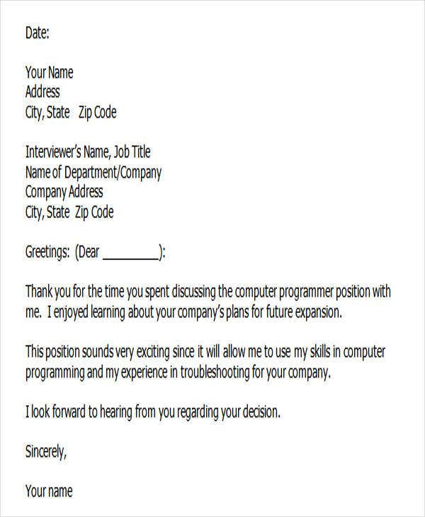 job interview thank you letter template word