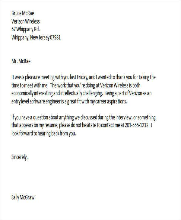 interview thank you letter template email