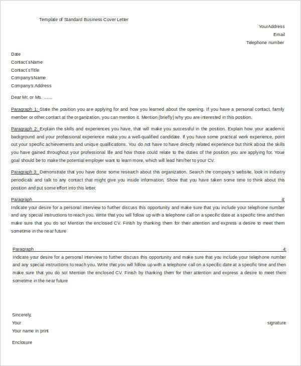 Standard Business Cover Letter Template