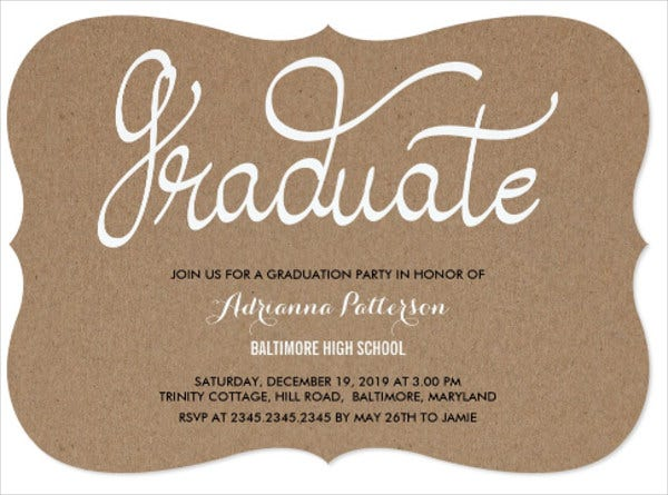 rustic graduation typography invitation
