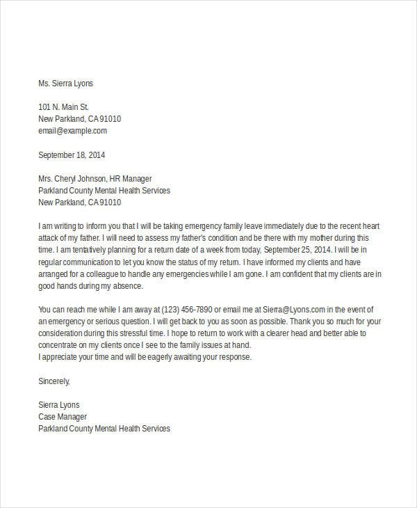 Formal letter sample template 70 free word pdf documents formal emergency leave letter thecheapjerseys Images