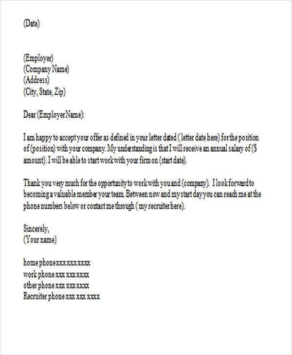 sample thank you letter for job offer with acceptance