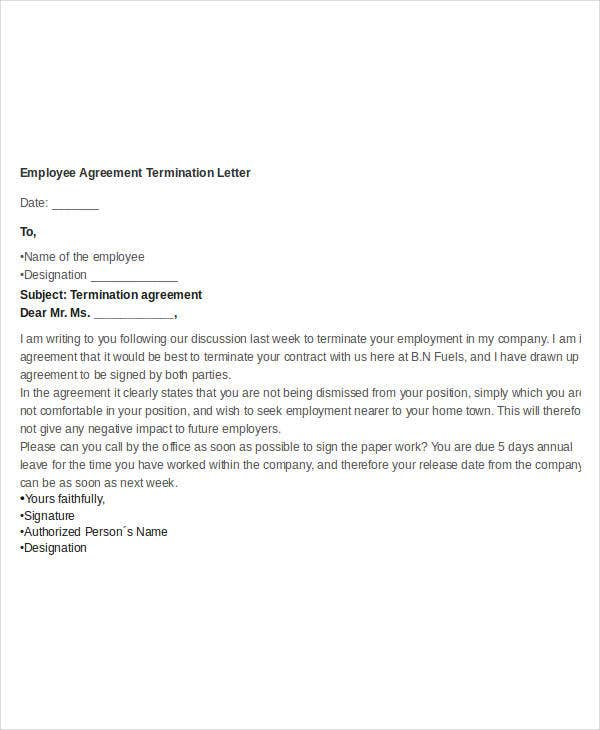 employee agreement termination letter