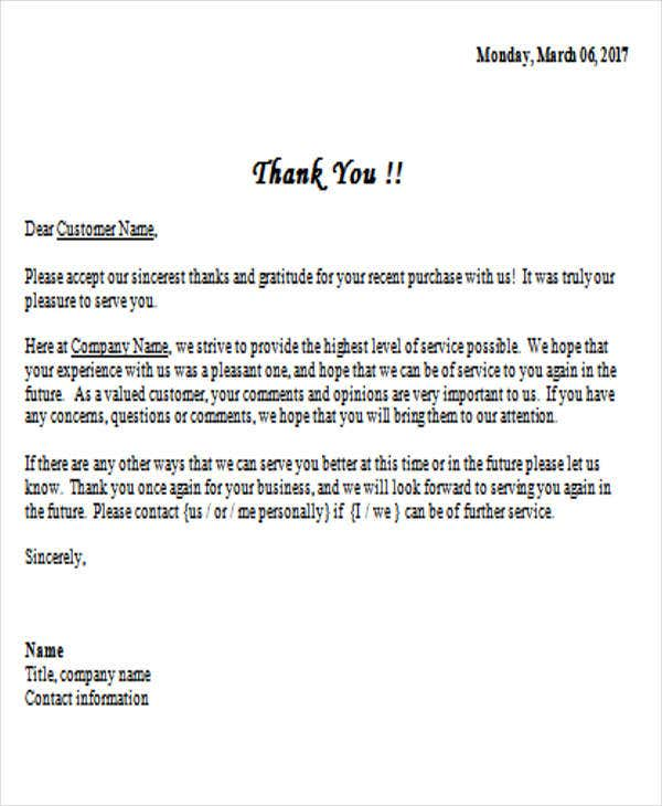 37 thank you letter in word templates free premium templates business thank you letter example expocarfo Images
