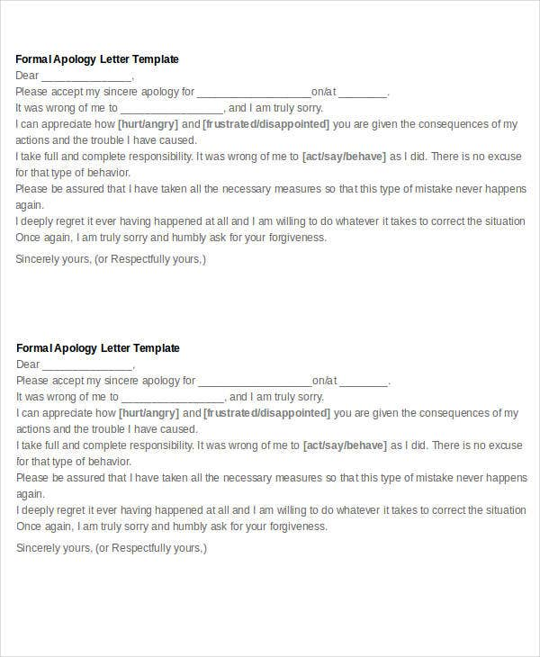 Apology Letter Templates In Word - 26+ Free Word, Pdf Documents